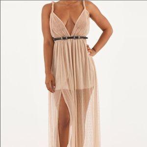 Nude Polka Dot Maxi Dress